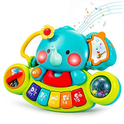 HOLA Musik Baby Spielzeug 6 9 12 Monate, Baby Musikspielzeug Klavier Kinder Elefant Piano mit Liedern Geräuschen Licht, Kinderspielzeug Musikinstrumente für 1 2 Jahr Jungen und Mädchen Geschenk