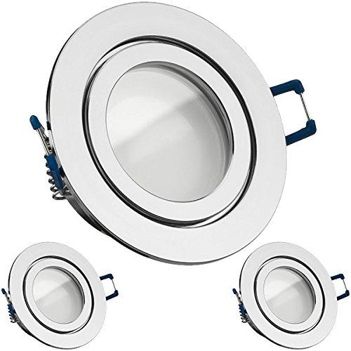 3er IP44 LED Einbaustrahler Set Chrom mit LED GU10 Markenstrahler von LEDANDO - 5W - warmweiss - 120° Abstrahlwinkel - Feuchtraum/Badezimmer - 35W Ersatz - A+ - LED Spot 5 Watt - Einbauleuchte rund