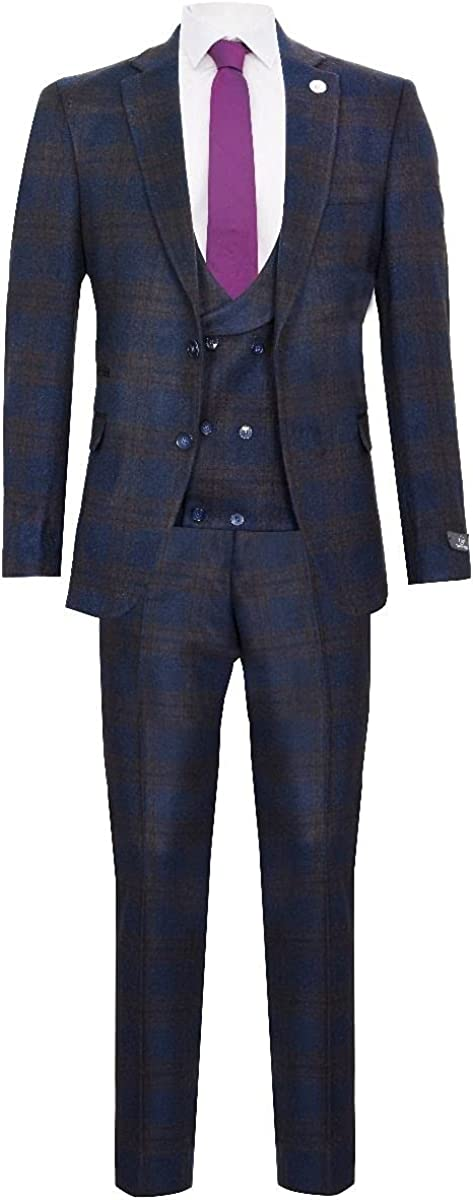 Mens Navy Blue Check 3 Piece Vintage Harringbone Wool 1920s Peaky Blinders Suit 50/44W
