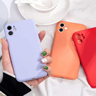 ZOUJIN Candy Color Liquid Silicone Case For iPhone 11 Pro Max Soft Protective Cover For iPhone (Color : Yellow, Size : IPh...