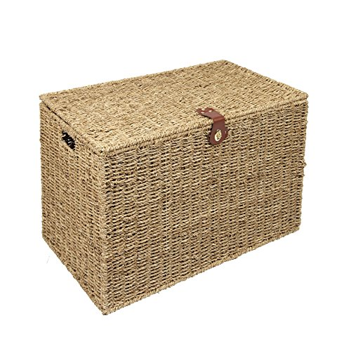 Woodluv Natural Seagrass Storage Trunk Linen Laundary Storage Basket - Large
