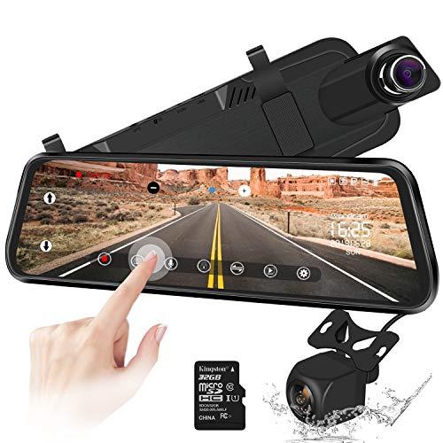 Caméra de recul 10'Miroir Dash Cam Caméra à écran Tactile Caméra de recul 170 ° à l'avant 1080p et à l'arrière de 150 ° 1080p avec Vision Nocturne, Moniteur de stationnement + Carte SD de 32 Go