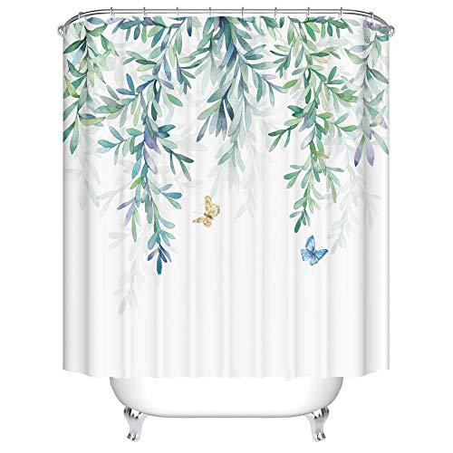 Duschvorhang 180X200 Grünes Blatt Duschvorhang Anti-Schimmel & Wasserabweisend Shower Curtain, Duschvorhänge mit 12 Haken,Duschvorhang Textil Waschbar,Polyester