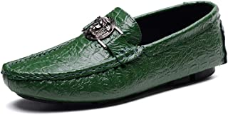 Men's Leather Shoes Leather Spring Casual/British Loafers & Slip-Ons Walking Shoes Black/Green/White/Office & Career,Green,UK8/CN42