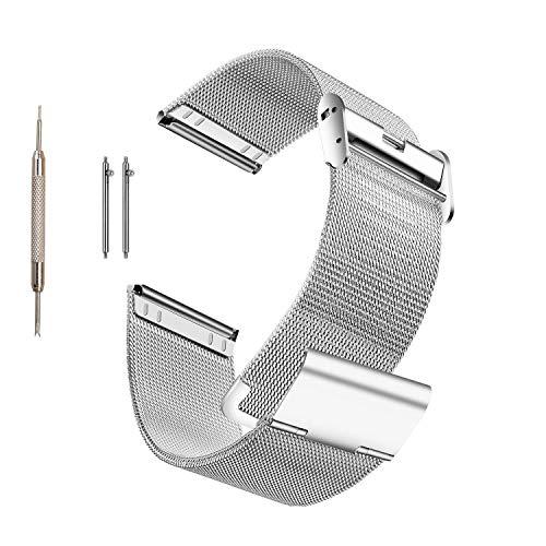 MUEN Kompatibel mit Galaxy Watch 42mm Armband,20mm Silber Rostfreier Stahl Uhrenarmband Ersatz für Samsung Galaxy Watch 42MM SM-R810/Samsung Gear Sport/Gear S2 Classic