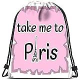 JHUIK Zaino scuola zaino con coulisse Zaino con coulisse Torre Eiffel Portami a Parigi Preventivo Schizzo decorativo Silhouette Francia Lavanderia Borsa da palestra Palestra Yoga