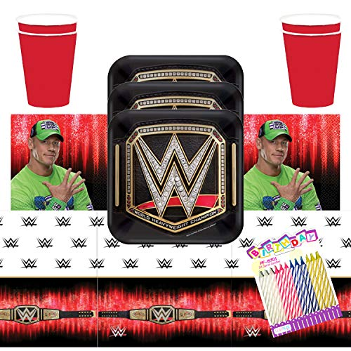 """WWE Smash Wrestling Party Supplies Pack Serves 16: 7"""" Plates Luncheon Napkins Cups and Table Cover with Birthday Candles (Bundle for 16)"""