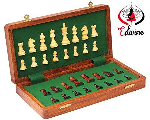 Échiquier magnétique pliable en bois avec pièces d'échecs - 20 x 20 cm - Bois de sheesham blanc - Pour jouer aux échecs en voyage