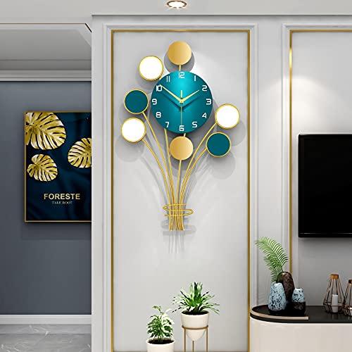 Reloj De Pared De Metal, Reloj De Pared Silencioso, Decoración Creativa Moderna Reloj De Pared Grande Para La Oficina De La Sala De Estar De La Cocina,64x40cm