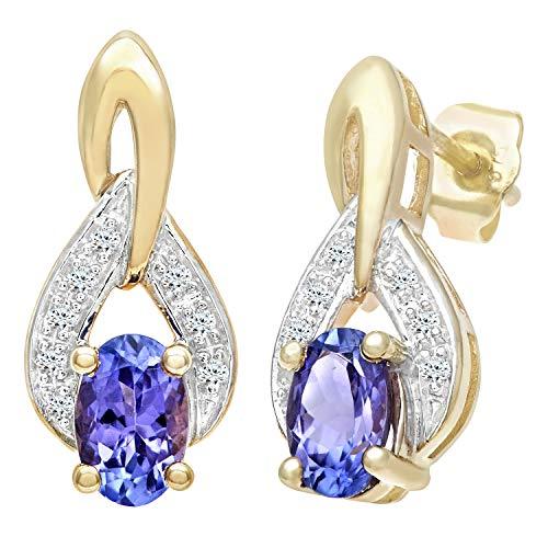 Naava Damen-Ohrhänger 375 Gelbgold Diamant 9 karat blau Ovalschliff