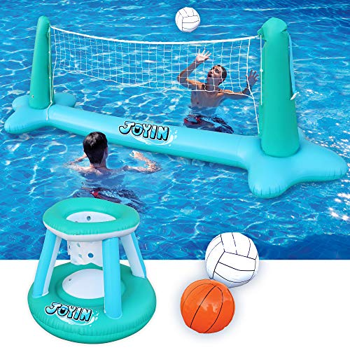 Inflatable Pool Float Set Volleyball Net & Basketball Hoops Balls