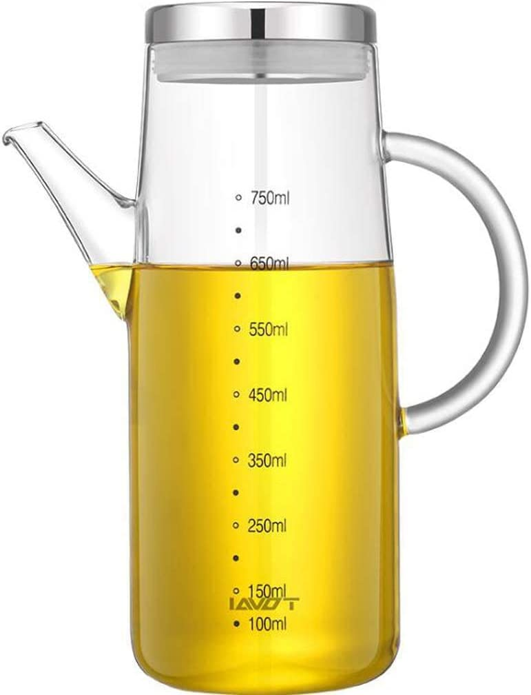 Botella Aceite, Dispensador de Vinagre y Aceite de Vidrio con Pico Vertedor, Dispensador de Aceite de Oliva con Tapón Anti-suciedad, 750ml