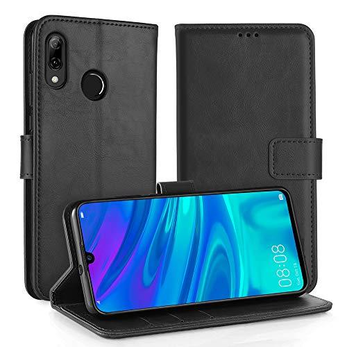 Simpeak Hülle Kompatibel mit Huawei P Smart 2019 [6,21 Zoll], Handyhülle Kompatibel für Huawei P Smart 2019 / Honor 10 Lite Flipcase [Kartensteckplätze] [Stand Feature] - Schwarz