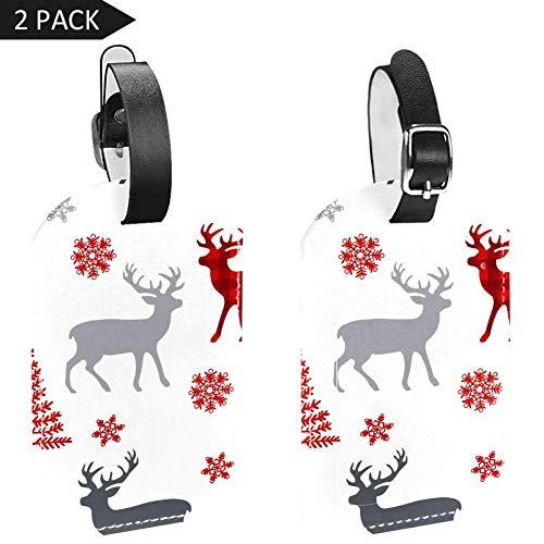 Etiquetas para equipaje de Navidad, diseño de copos de nieve y árbol,...