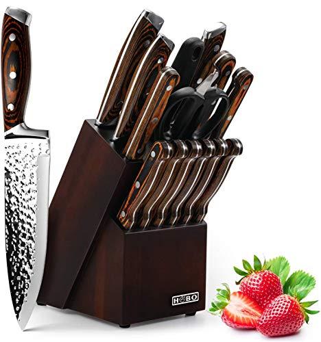 HOBO Messerblockset, 15-teiliges Küchenmesserset, Kochmesserset mit Anspitzer, Japanischer Edelstahl Messerblockset aus Rostfreiem Stahl mit hohem Kohlenstoffgehalt, Boxmessersets, Farbiger Holzgriff