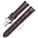 iStrap 18mm Calf Leather Stitched Replacement Watch Band Push Button...