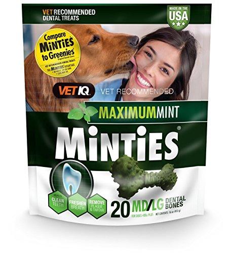 Minties VetIQ Dental Bone Treats for Dogs 40+ pounds 20 Count Medium/Large 16 oz