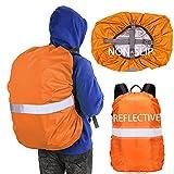 Hiwalker 40-50L Rucksack Wasserschutz mit Befestigung Verstellschnalle Reflexstreifen Ranzen Regenschutz wasserdichte RegenhüLle Schulranzen Regencape (Orange, M(40-50L))