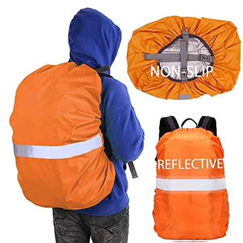 Hiwalker 30-40L Rucksack Wasserschutz mit Befestigung Verstellschnalle Reflexstreifen Ranzen Regenschutz wasserdichte RegenhüLle Schulranzen Regencape (Orange, S(30-40L))