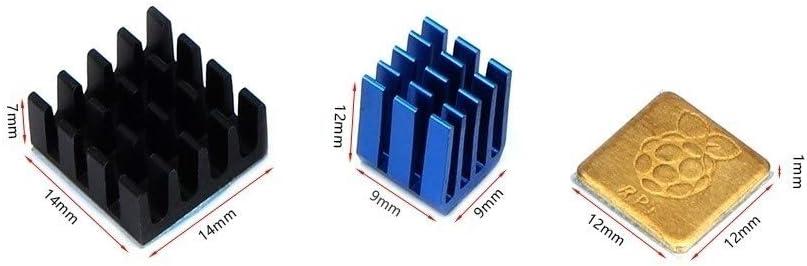 MANMANYU 1Set Blue Heatsink Cooler Pure Aluminum Copper Heat Sink Set Kit Radiator for Raspberry Pi 3 Model B/B Plus 3D Printer Parts Printer Accessories