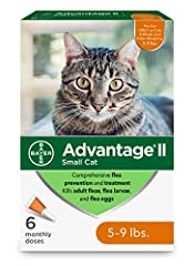 Contains six one month applications of Bayer Advantage II topical flea prevention and treatment for small cats 5 to 9 pounds Advantage II works through contact, so fleas don't have to bite your cat to die This effective flea treatment kills fleas in ...