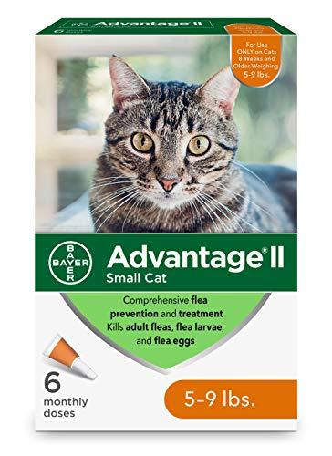 Advantage II Flea Prevention for Small Cats, 6-Dose Small Cat Flea Prevention, 5-9 Pounds