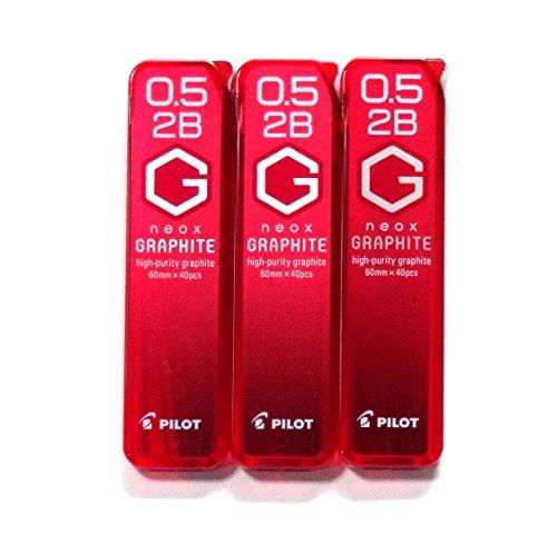 Pilot Mechanical Pencil Lead Neox Graphite 0.5mm, 2B (HRF5G-20-2B), 40 Leads×3 Pack/total 120 Leads (Japan Import) [Komainu-Dou Original Package]