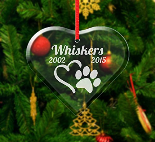 Custom-Engraved-Glasses-by-StockingFactory Personalized Pet Heart Christmas Ornament Paw Print Rememberance in Memory Loss of Dog Cat Pet Keepsake Sympathy Pet Gift for Family