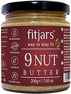 FITJARS 9 Nut Butter, 200 gm All Natural Stone Ground Butter. Crunchy Butters/Natural Butters