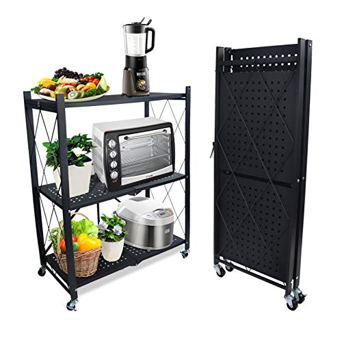 3-Shelf Foldable Storage Shelves with Wheels, Large Capacity Shelving Unit, Freestanding Metal Wire Shelf Rack, No Assembly Organizer Rack for Garage Kitchen, Basement, Pantry, Heavy Duty