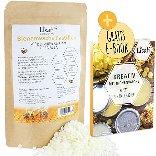 200g weiße Ecocert zertifiziert schnell schmelzende Bienenwachs Pastillen vom Imker, Rezepte PDF für Herstellung Salben Seifen Kerzen