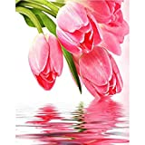 5D DIY diamante flor tulipán mosaico de diamantes imagen artística Kit de bordado de diamantes pintura de mosaico pintura de diamantes A10 30x40cm