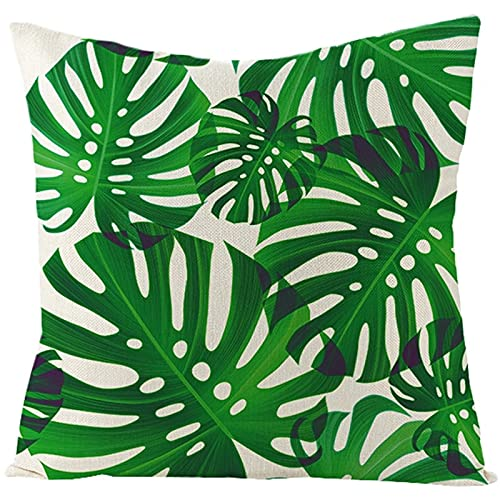 Agoble Federa Cuscino Verde Motivo a Foglia di Banana, Biancheria Cuscini Decorativi Letto 50x50cm/20x20 Inches