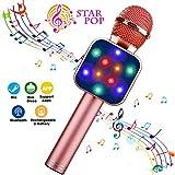 ShinePick Micrófono Karaoke Bluetooth, 4 en1 Microfono Inalámbrico Karaoke Portátil con Luces LED y Altavoz para Niños Canta Partido Musica, Compatible con PC, AUX o Android/iOS Teléfono (Oro rosa)