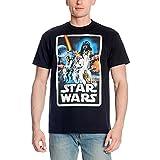 Star Wars Elbenwald - Camiseta de manga corta para hombre, diseño retro, color negro Negro XL