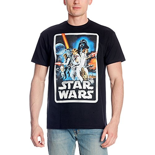 Star Wars Elbenwald - Camiseta de manga corta para hombre, diseño retro, color negro Negro XXL