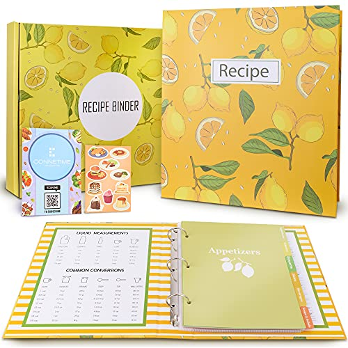 Lemon themed Recipe Binder Set 8.5' x 9.5' - 3 Ring Full Recipe Book to write in your own recipes,...