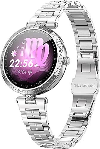 Reloj Conectado Mujeres Rose SmartWatch Deporte Podómetro Pulsera conectada Mujer Inteligente Cardio Frecuencia Color Impermeable Transparewatch Presión de Android iOS-Plata