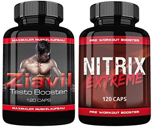 Ziavil Testo Booster + Nitrix Pre Workout Booster By VargPower | 240 Kapseln | Auf Pharma Niveau Hergestellt