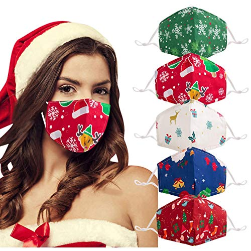 5 Pack Christmas Face_Masks for Adults, Owill Reusable Washable Cloth Fabric Christmas Santa Snowman Print Face Bnadanas with Xmas Designs for Men Women (A - 5Pack)