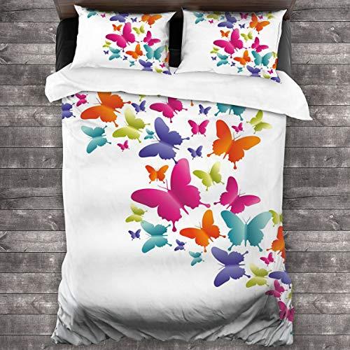 HARXISE Microfibra Juego de Cama Efectos 3 Piezas,Mariposas inspiradas en la Naturaleza en Varios tamaños Colores del Arco Iris Vibraciones Naturales Buen Humor,1(240x260cm)+2(50x80cm)