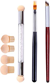 WOKOTO 3Pcs Ombre Nail Art Brush Set Wooden Gel Builder Brush Double Head Nail Gradient Shading Pen With 4 Replaceable Spo...