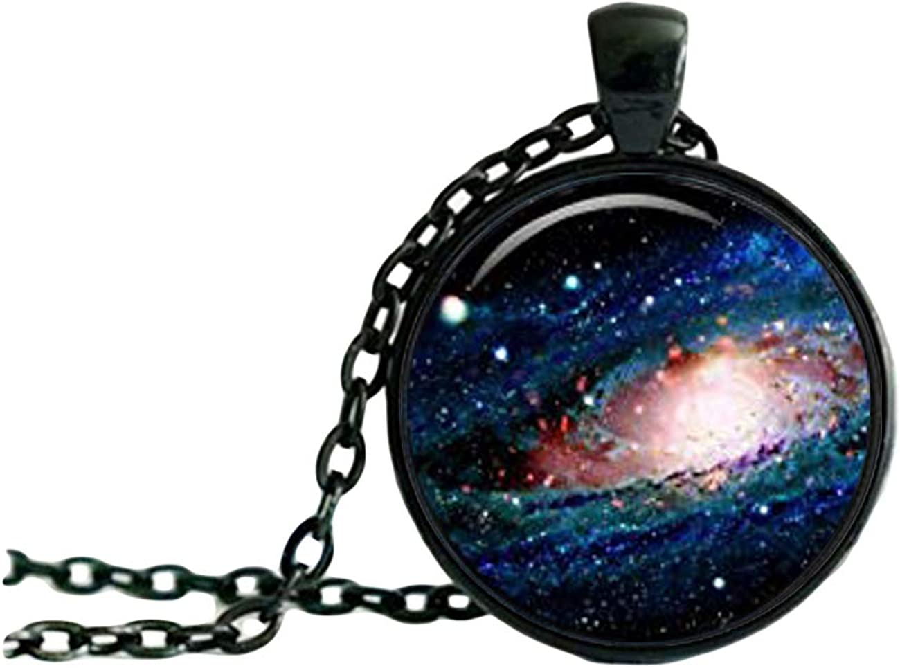 Charm Galaxy Pendant Nebula NECKLACE, Black Jewelery, Charm Pendant, Dome glass jewelry, pure hand-made