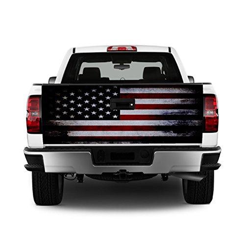 Tailgate Wrap T328 American Flag Distressed Vinyl Graphic Decal Sticker F150 F250 F350 Ram Silverado Sierra Tundra Ranger Frontier Titan Tacoma 1500 2500 3500 Bed Cover
