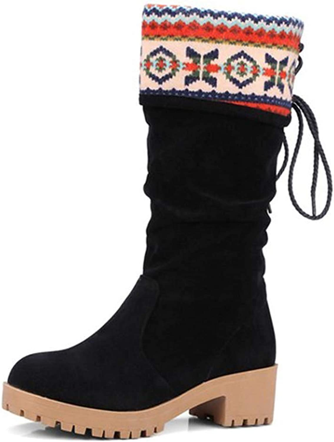 Unm Women's Vintage Embroidered Round Toe Pull On Mid Chunky Heel Ruched Platform Mid Calf Slouchy Boots