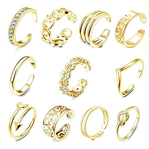 FIBO STEEL 12 Pcs Open Toe Rings for Women Vintage Retro Wave Flower Celtic Knot Arrow Tail Band Toe Ring Adjustable Gold-tone