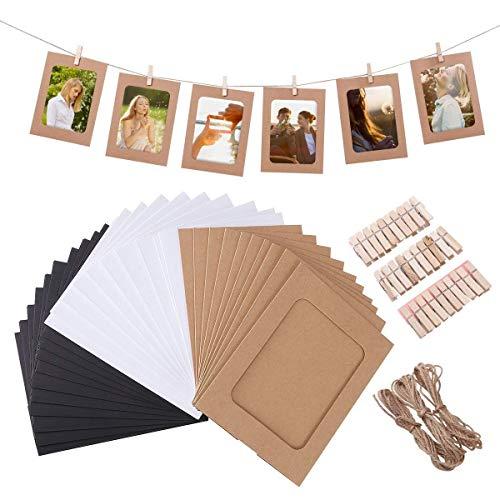Ducomi Marco de fotos Polaroid – 30 portafotos de papel kraft con cuerda y pinzas – Decoración múltiple DIY – Marcos personalizables con creatividad – Ideal para fiestas y eventos