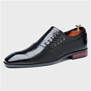 Leather Classic Oxford for Men Formal Wedding Shoes Side Lace up PU Leather Burnished Style Vegan Pointed Toe Rubber Sole shoes (Color : Black, Size : 39 EU)