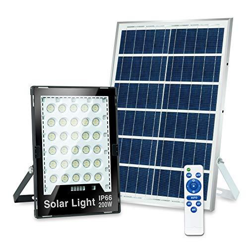 Luz de Inundación Solar LED de 200W, Luz de Seguridad LED de Exteriores con Lámpara de Atmósfera RGB y Remoto, Focos LED IP66, Luz Solar Exterior para el garaje del Jardín Camino