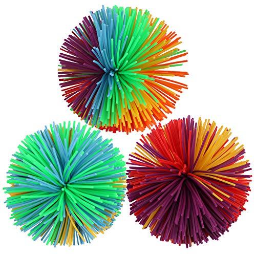 CABAX Monkey Stringy Balls, Soft Stress Balls Monkey Balls Sensory Fidgets Toys Rainbow Colorful Bouncy Pom Ball Stress Relief Sensory Toy, Pack of 3